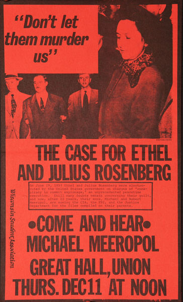 The Case For Ethel And Julius Rosenberg Original American Protest Poster