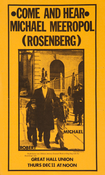 Come and Hear Michael Meeropol (Rosenberg) Original American Portest Poster