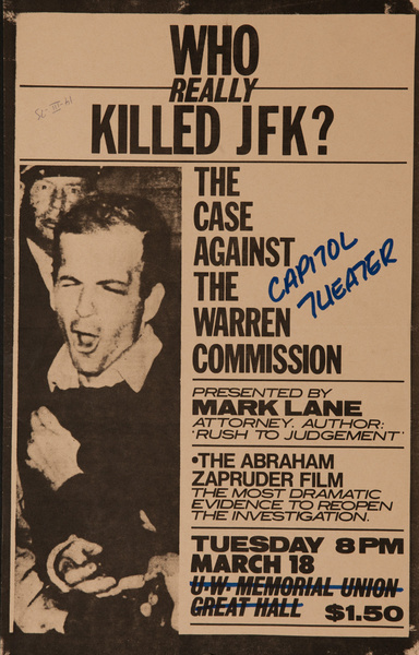 Who Really Killed JFK, The Case Against The Warrren Commission Original American Protest Poster