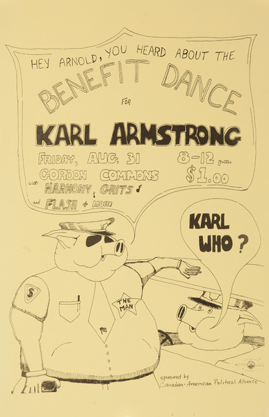 Benefit Dance for Karm Armstrong Original American anti-Vietnam War Protest Poster