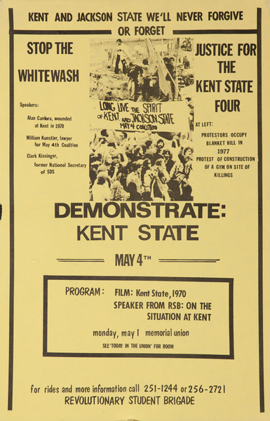 Kent and Jackson State We'll Never Forgive or Forget Original American Political Protest Poster