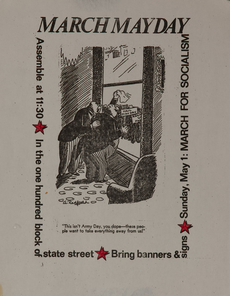 March Mayday, March For Socialism Original American College Protest Poster