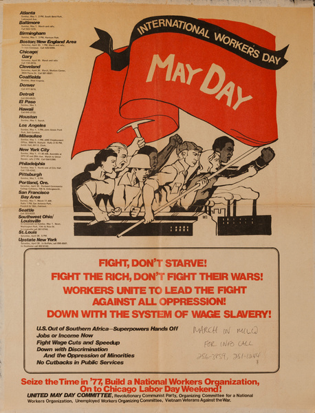 International Workers Day, May Day, Original American Political Protest Poster