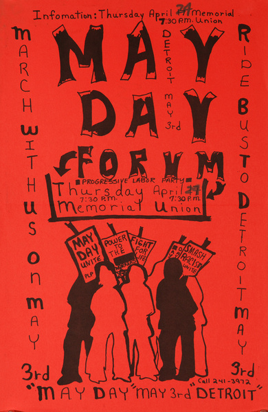 May Day Forum Detroit, Original American College Protest Poster