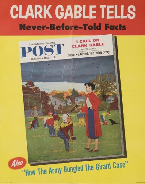 Saturday Evening Poster Original Advertising Poster October 5 1957 Backyard [[Football]]