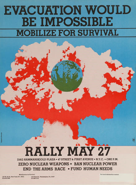 Evacuation Would Be Impossible, Mobilize for Survival, Rally May 27, American Anti-Nuclear Weapon Protest Poster