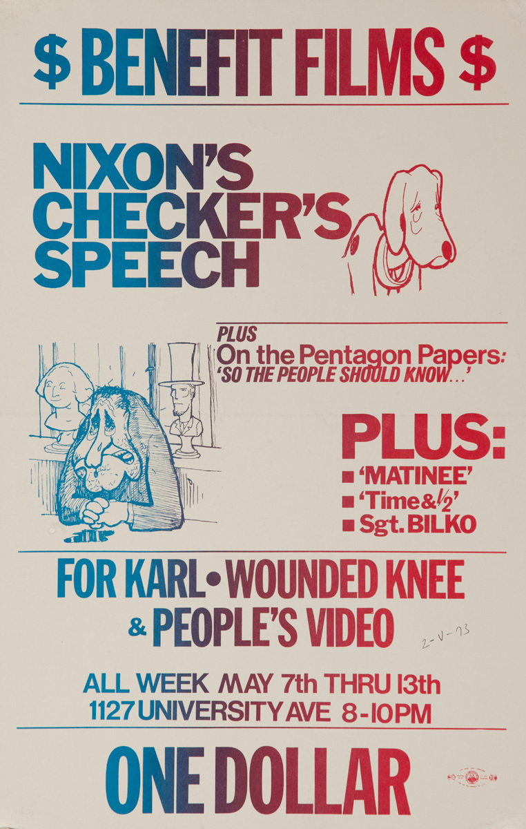 Benefit Films, Nixon's Checker Speech Original American College Campus Protest Poster