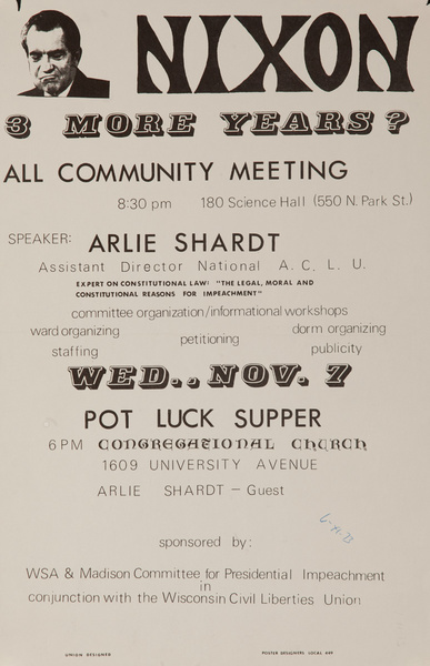 Nixon, More Years? All Community Meeting, Original American College Campus Protest Poster