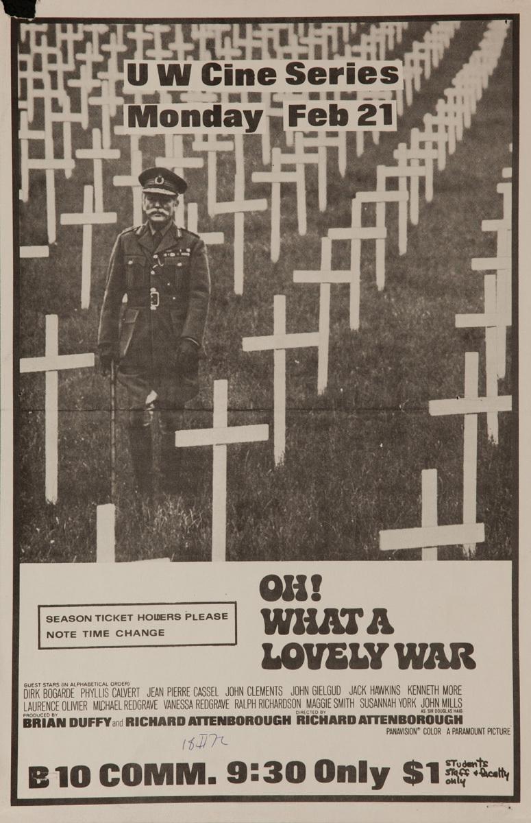 Oh What A Lovely War, Original anti-Vietnam War Movie, College Campus Poster