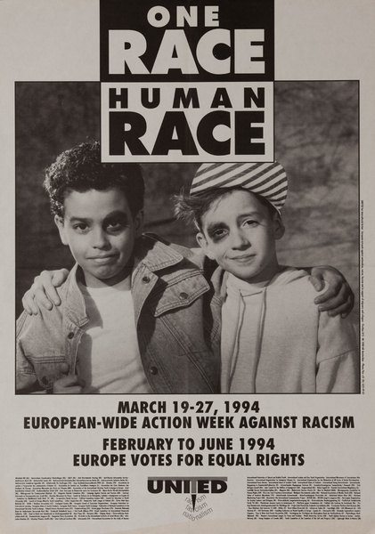 One Race, Human Race, Original American College Campus Protest Poster