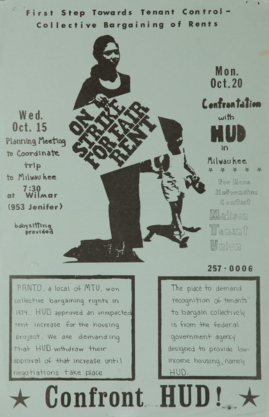 On Strike for Fair Rent, Confront HUD, Original American College Campus Protest Poster