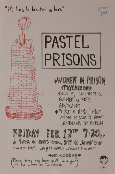 """Pastel Prisons, Women In Prison, """"It's Hard to Breath on Here"""".  Original American College Campus Protest Poster"""