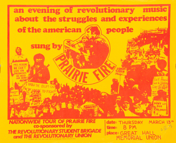 An Evening Of Revolutionary Music About the Struggles and Experiences of the the American People, Sung By Prairie Fire,  Original American College Campus Protest Poster
