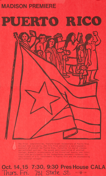 Madison Premiere, Puerto Rico, Original American College Campus Protest Poster
