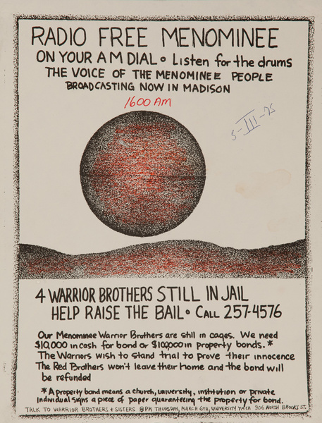 Radio Free Menominee On Your AM Dial Original American Indian Movement College Campus Protest Poster