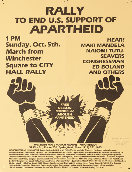 Rally to End the U.S. Support of Apartheid, Original American Protest Poster