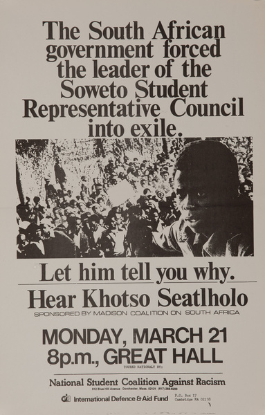 Hear Khotso Seatholo, Original American College Campus Protest Poster