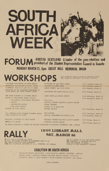South Africa Week Forum, Original American College Campus Protest Poster