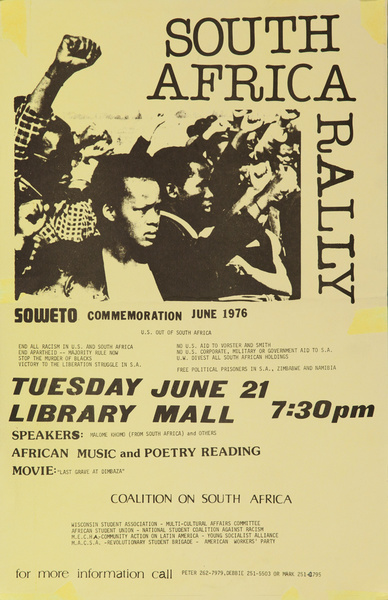 South Africa Rally, Soweto Commemoration, Original American College Campus Protest Poster