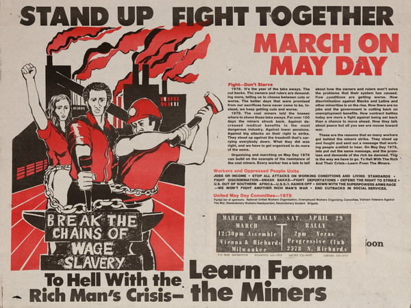 Stand Up Fight Together, March on May Day. Original American Protest Poster