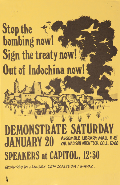 Stop the bombing now! Sign the treaty now! Out of Indochina now! Original American anti-Vietman War Protest Poster