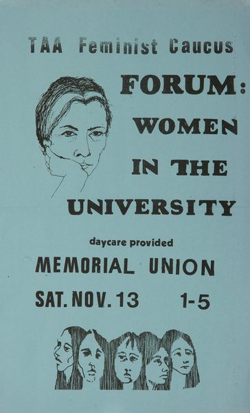 TAA Feminist Caucus, Forum Women in the University, Original American College Poster