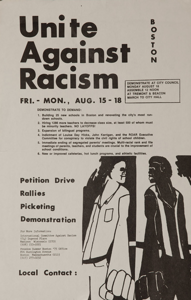 Unite Against Racism, Boston, Original American Civil Rights Protest Poster