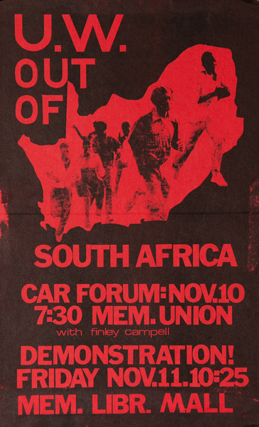 U.W. Out of South Africa, Original American College Protest Poster