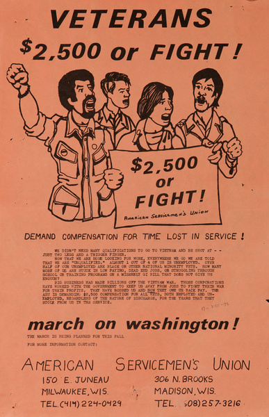 Veterans $2,500 or Fight, March on Washington, Original American anti-Vietman War Protest Poster