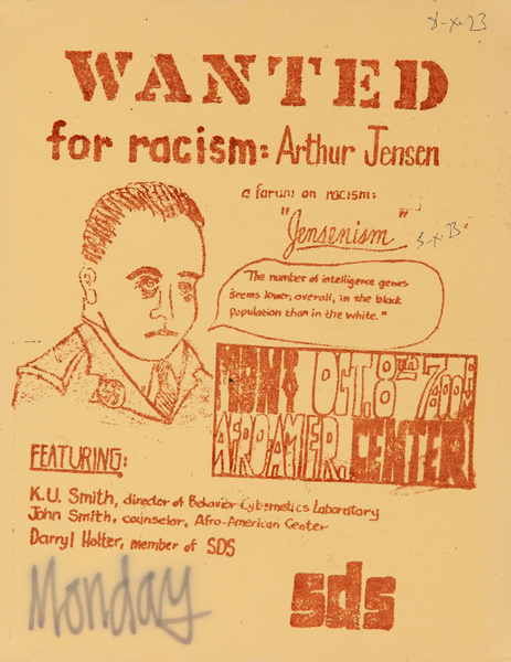 Wanted for Racism : Arthur Jensen, Original American Civil Rights Protest Poster