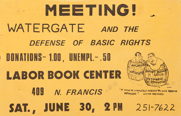 Meeting! Watergate and the Defense of Basic Rights, Labor Book Center, Original American Protest Poster