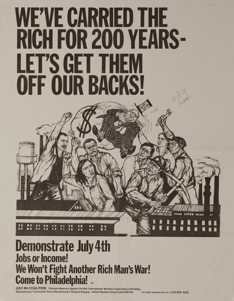 We've Carried The Rich for 200 Years - Let's Get Them Off Our Back, Original American anti-Vietman War Protest Poster