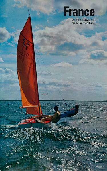 France, Voile sur les Lacs, Sailing on her Lakes, Original French Travel Poster