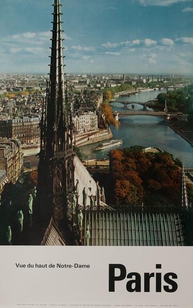 Paris France, Vue du haut de Notre Dame, Original French Travel Poster