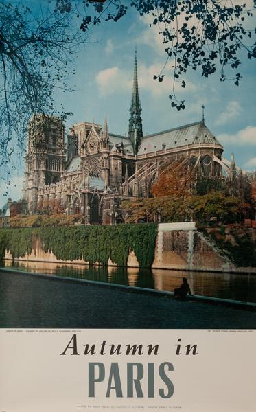 France, Autumn in Paris, Notre Dame Seine Photo, Original French Travel Poster