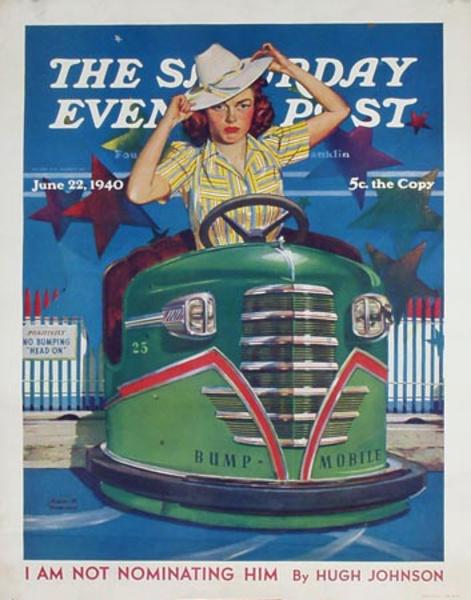 Saturday Evening Post Original Advertising Poster Bumper Cars