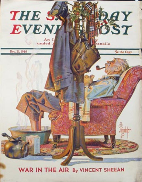 Saturday Evening Post Original Advertising Poster December 21, 1940 Man reading