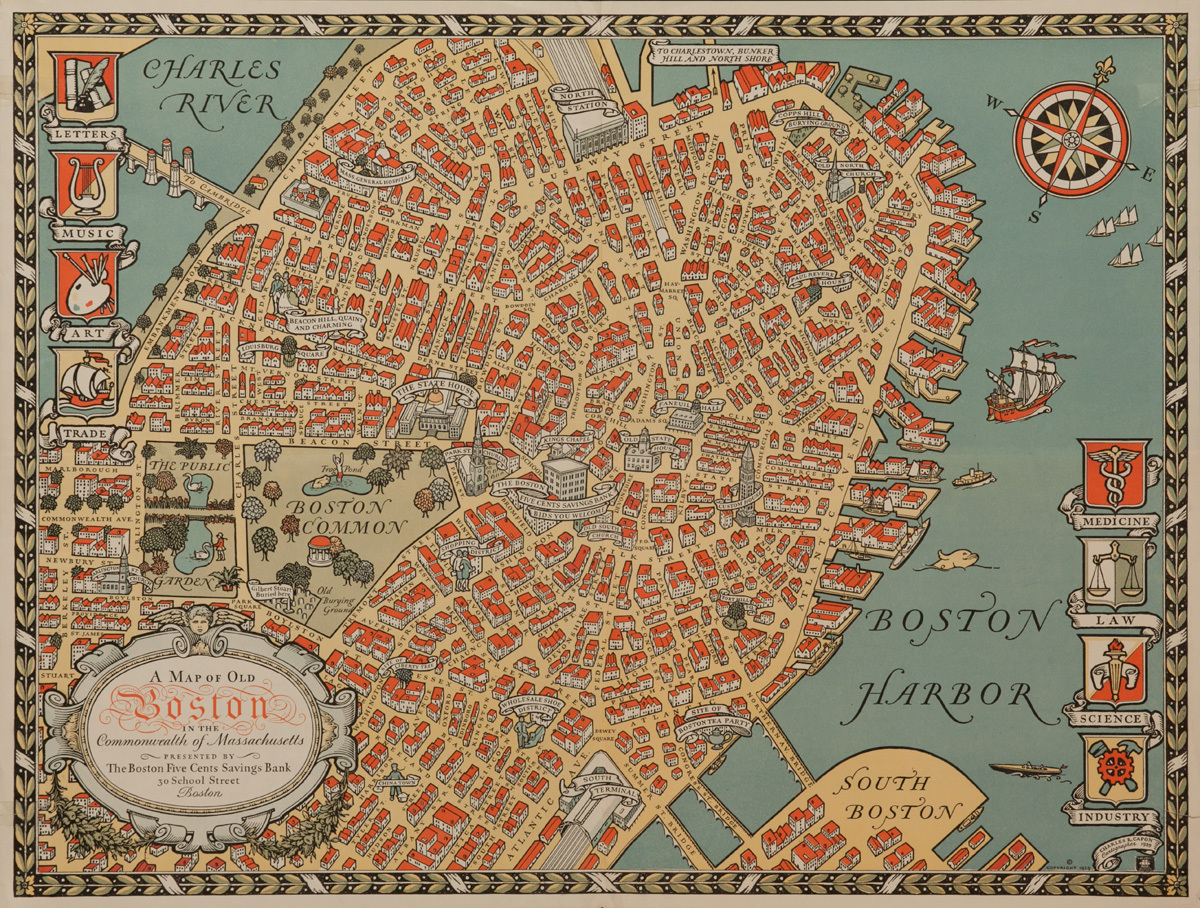 A Map of Old Boston, Original Souvenir Poster