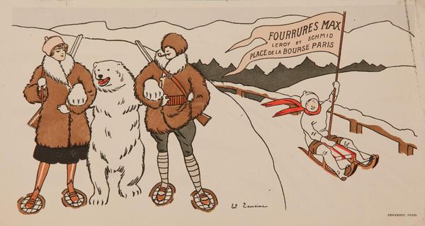 Fourrures Max Leroy et Schmid Place de le Bourse Paris Original French  Fur Store Advertising Print