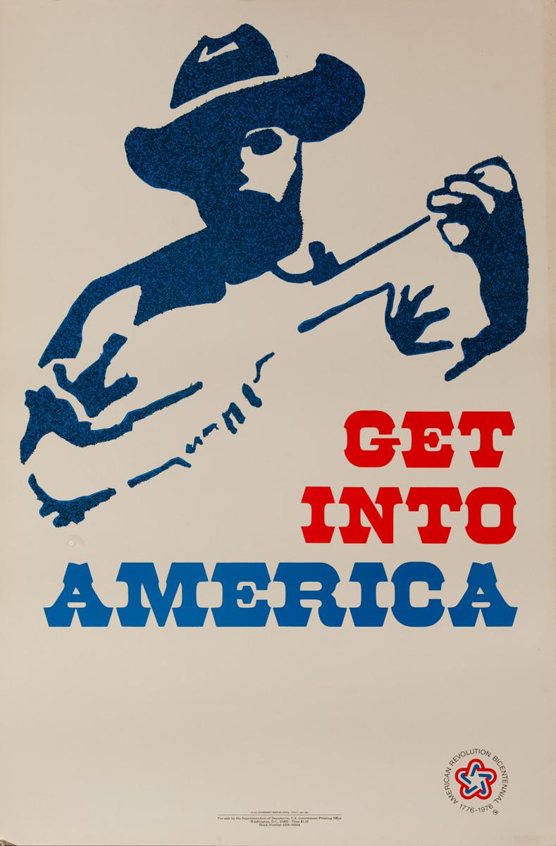 Get Into America, Original American Bicentennial Travel Poster, Minuteman