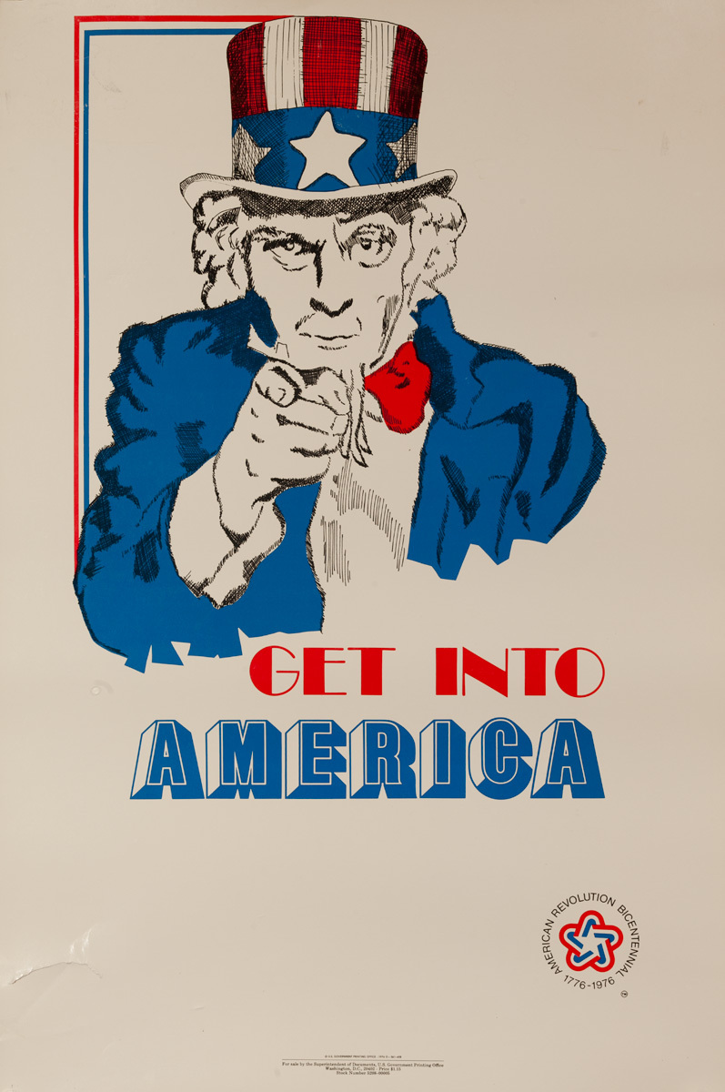 Get Into America, Original American Bicentennial Travel Poster, Uncle Sam