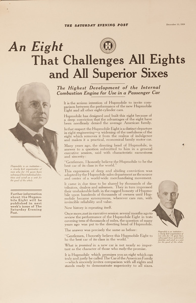 An Eight That Challenges All Eights Original Hupmobile Poster