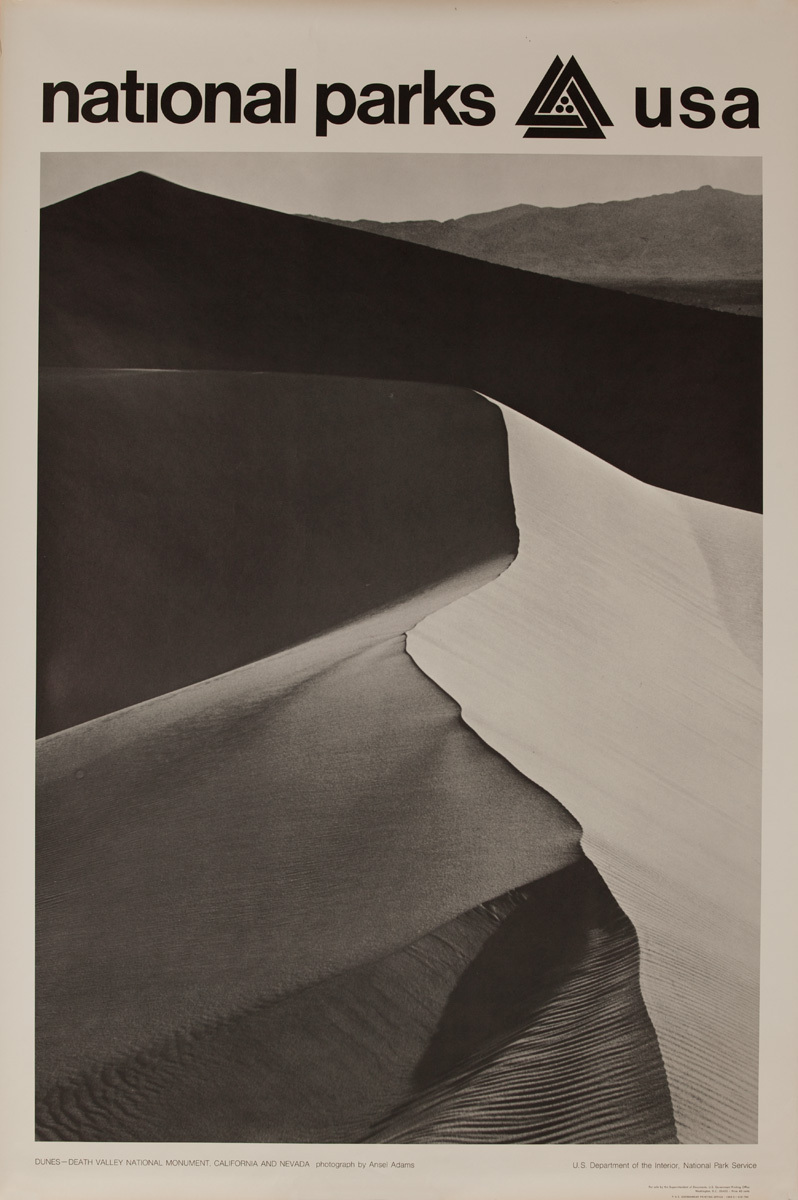 National Parks USA Poster: Dunes Death Valley National Monument, California