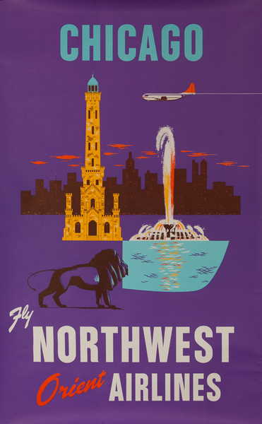 Chicago Fly Northwest Orient Airlines, Original Travel Poster