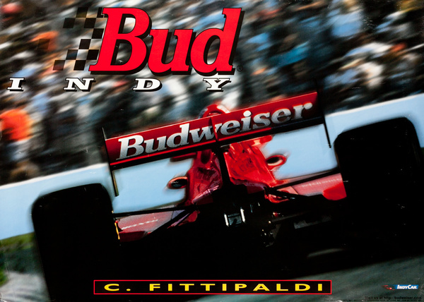 Bud, Indy Racing Poster, C. Fittipaldi Original Budweiser Indianapolis 500 Poster