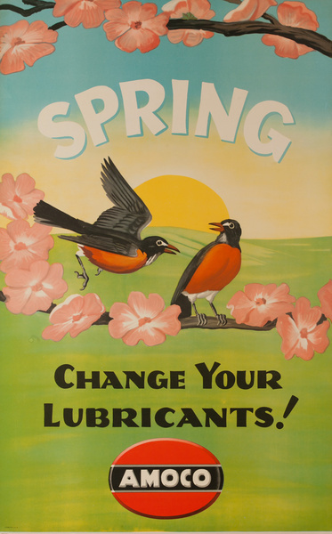 Spring Change Your Lubricants! Amoco, Original American Gas Station Poster