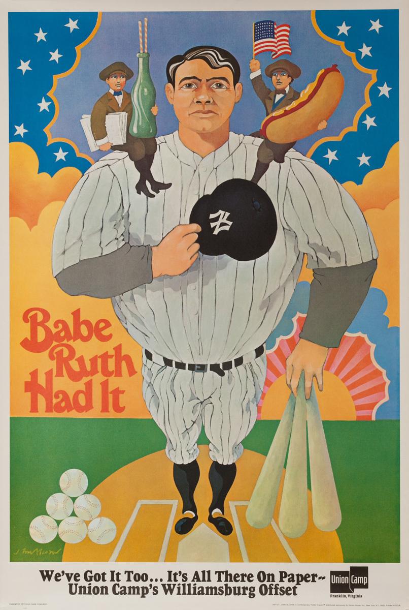 Original Union Camp Poster Babe Ruth Had It, Baseball Sports Cartoon