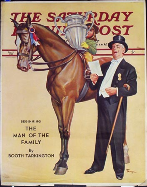 Saturday Evening Post Original Advertising Poster Horse rider and trophy