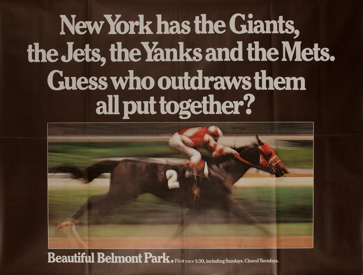 Beautiful Belmont Park, Original New York Horse Racing Poster