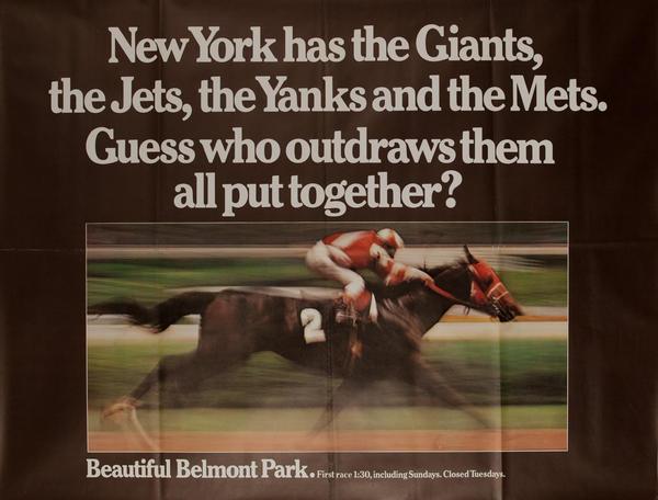 Beautiful Belmont Park, Original New York Horse Racing Poster